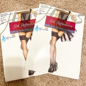 NWT Silk reflections lace top thigh highs